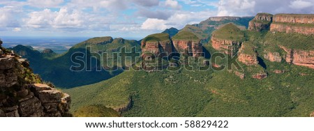 Panorama of the Three Rondavels. Blyde River Canyon, south Africa