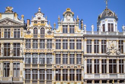 Panorama of the traditional Houses on the Grand Place in Brussel, Belgium