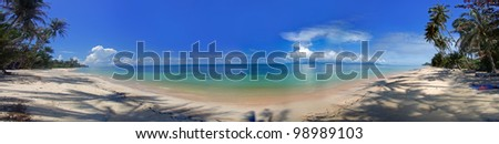 Panorama of the tropical beach and ocean coastline