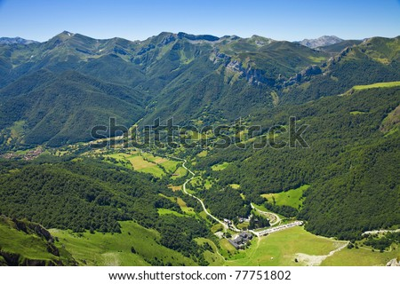 Panorama of the valley view from Fuente De. Picos de Europa, Cantabria, Spain