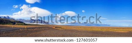 Panorama of the Vatnajokull Glacier Iceland. Shot during the summer this is the biggest glacier in Europe and is in the Skaftafell National Park.