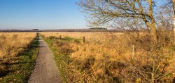 Panorama of the walking path in the nature reserve of Noordsche Veld in Drenthe, Netherlands