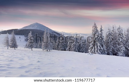 Panorama of the winter mountains. Sunrise