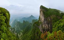 Panorama of Tianmenshan nature park - China - travel background