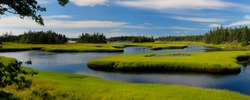 Panorama of tide pool water with salt marsh cordgrass on Cape Sable Island Nova Scotia