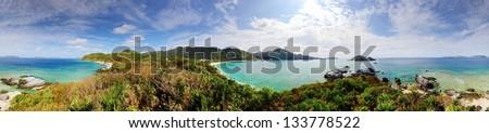Panorama of Tokashiki Island in Okinawa, Japan.