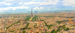 Panorama of Tour Eiffel and national residence of the Invalids from Observatory Deck of Tour Montparnasse. Aerial view of Paris skyline and cityscape. Top of Tour Montparnasse tower of Paris, France