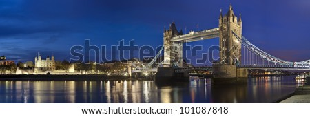 Panorama of Tower bridge and Tower of London, Great Britain