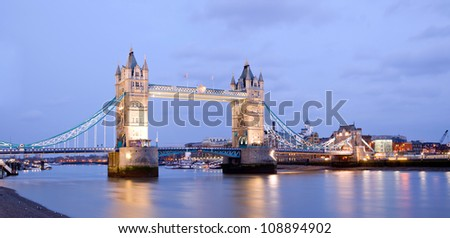 Panorama of Tower Bridge at dusk London England UK