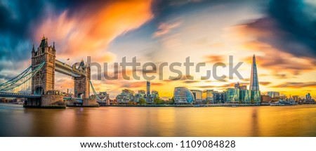 Panorama of Tower Bridge at Sunset in London, UK #1109084828
