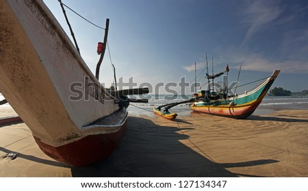 panorama of traditional fishing boat on Sri Lanky, Ceylon, Asia