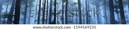 Panorama of trees in the morning fog, forest in smoke, 3D rendering. stock photo