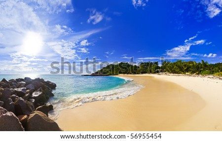Panorama of tropical beach at evening - nature background