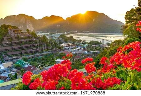 Panorama of tropical islands Phi Phi Don and Phi Phi Leh in sea. Krabi, Thailand