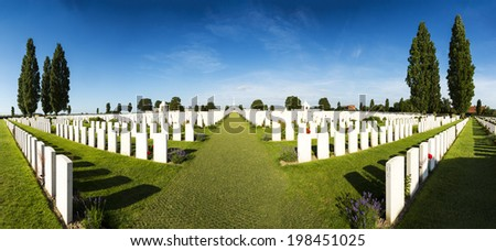 Panorama of Tyne Cot World War One Cemetery, the largest British War cemetery in the world.  near Ypres, Flanders, Zonnebeke, Belgium Stock photo ©