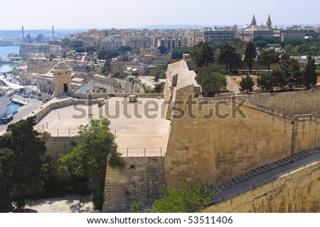 Panorama of Valetta, the capital of Malta, from city wall