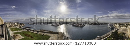 Panorama of Valletta harbour, Malta seen from the old bastions