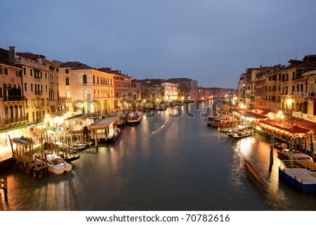 Panorama of Venetian Grand Canal from Rialto bridge