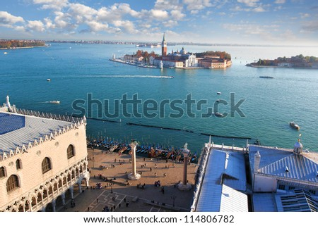 Panorama of Venice with San Giorgio island in Italy
