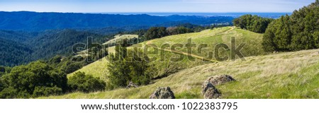 Panorama of verdant green hills in Santa Cruz mountains, San Francisco bay area, California