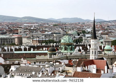 Panorama of Vienna - cityscape of Austrian capital city. Seen from Stephansdom.