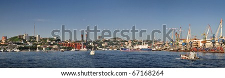Panorama of Vladivostok city, russian port on Pacific ocean, Russia