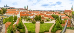 Panorama of Vrtba garden or Vrtbovska zahrada and view on old town of Prague in Czech Republic