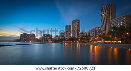 Panorama of Waikiki Beach Hotels in Honolulu, Hawaii at Dusk with Exquisite Detail