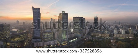 Panorama of Warsaw city during autumn sundown