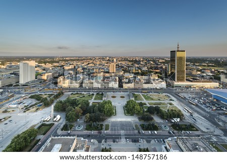 Panorama of Warsaw city during dusk time, Poland.