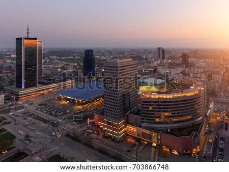 Panorama of Warsaw city with modern skyscrapers during sunset, Poland, Europe. #703866748
