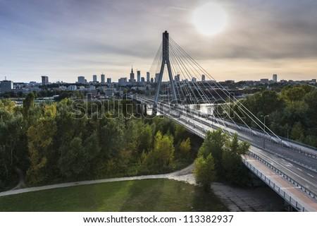 Panorama of Warsaw in Poland during sundown