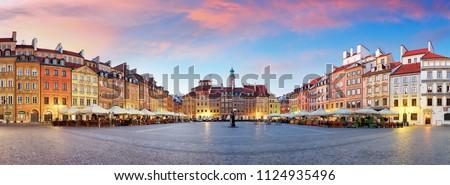 Panorama of Warsaw odl town square, Rynek Starego Miasta, Poland Zdjęcia stock ©