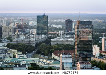 Panorama of Warszawa city during sundown. Warszawa is a capital of Poland.