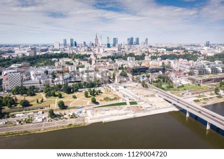 Panorama of Warszawa, view of the Vistula River, Poland #1129004720