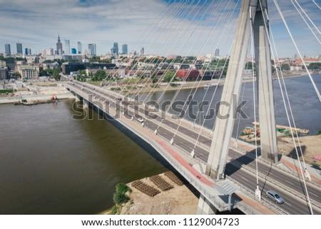 Panorama of Warszawa, view of the Vistula River, Poland #1129004723