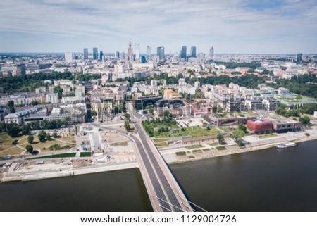 Panorama of Warszawa, view of the Vistula River, Poland #1129004726