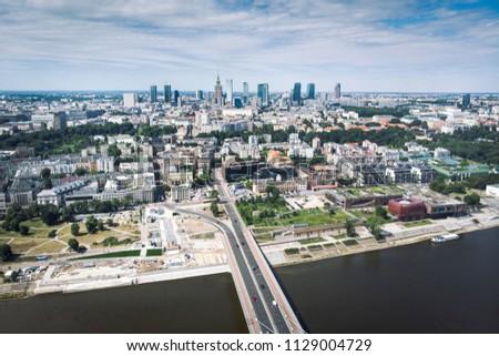 Panorama of Warszawa, view of the Vistula River, Poland #1129004729