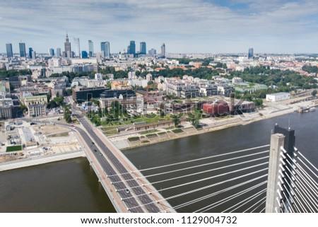 Panorama of Warszawa, view of the Vistula River, Poland #1129004732