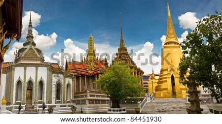 Panorama of Wat Pra Kaew, beautiful buddhist temple of Thailand