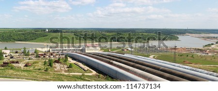 Panorama of water passages of storage plant