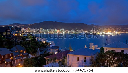 Panorama of Wellington Skyline at night, New Zealand. - stock photo