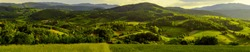 Panorama of western Serbian landscape.  Village Brezovice near town of Valjevo, Serbia, Europe. Evening in may.