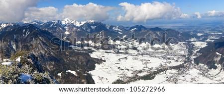 Panorama of winter Bavarian Alpen