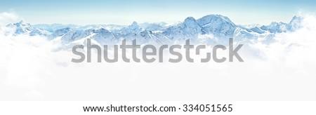 Panorama of winter mountains in Caucasus region,Elbrus mountain, Russia #334051565