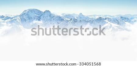 Panorama of winter mountains in Caucasus region,Elbrus mountain, Russia #334051568