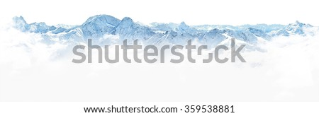 Panorama of winter mountains on white background #359538881