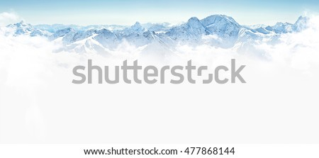 Panorama of winter mountains with copy space #477868144