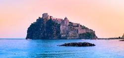 panorama of wonderful castle in Ischia Napoli Italy
