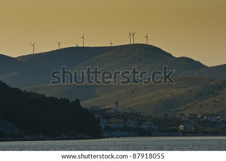 Panorama of Zaboric and wind turbines on the mountain